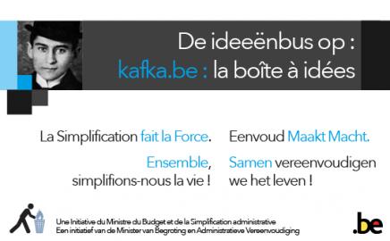 Envoyez votre idée : le nouveau point de contact www.Kafka.be est en ligne !